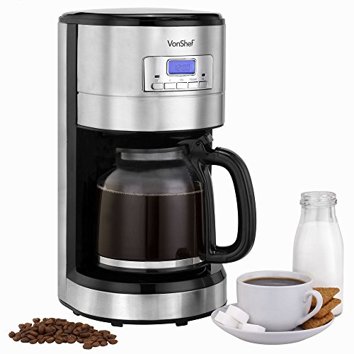 Programmable Coffee Maker With Reusable Filter : VonShef 1000W Programmable Digital Filter Coffee Maker with 24 Hour Timer, Reusable Filter, Hot ...