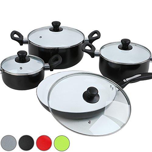 Jago 4 pcs ceramic coated non stick cookware kitchen set for Kitchen set non stick