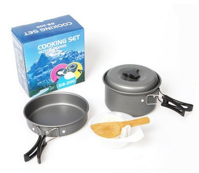 Camping cookware kit gear hiking cooking equipment 8 for Perfect kitchen cookware